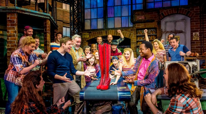 The cast of Kinky Boots, a musical at the Edinburgh Playhouse from December 2018 to 5 January 2019