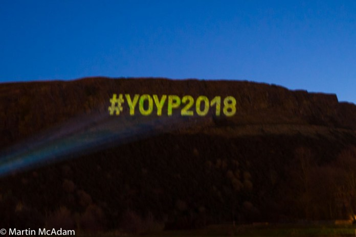 Projection on Salisbury Crags of #YOYP2018