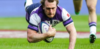 Stuart Hogg diving over for a try
