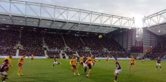 Hearts and Motherwell players during the game at Tynecastlle on 8th December.