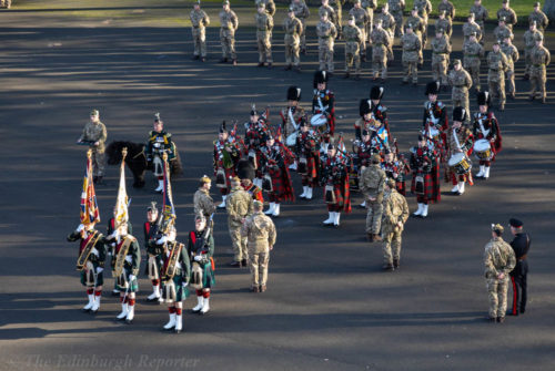 Miltary Pipe band on parade ground
