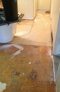 Old parquet flooring under laminate