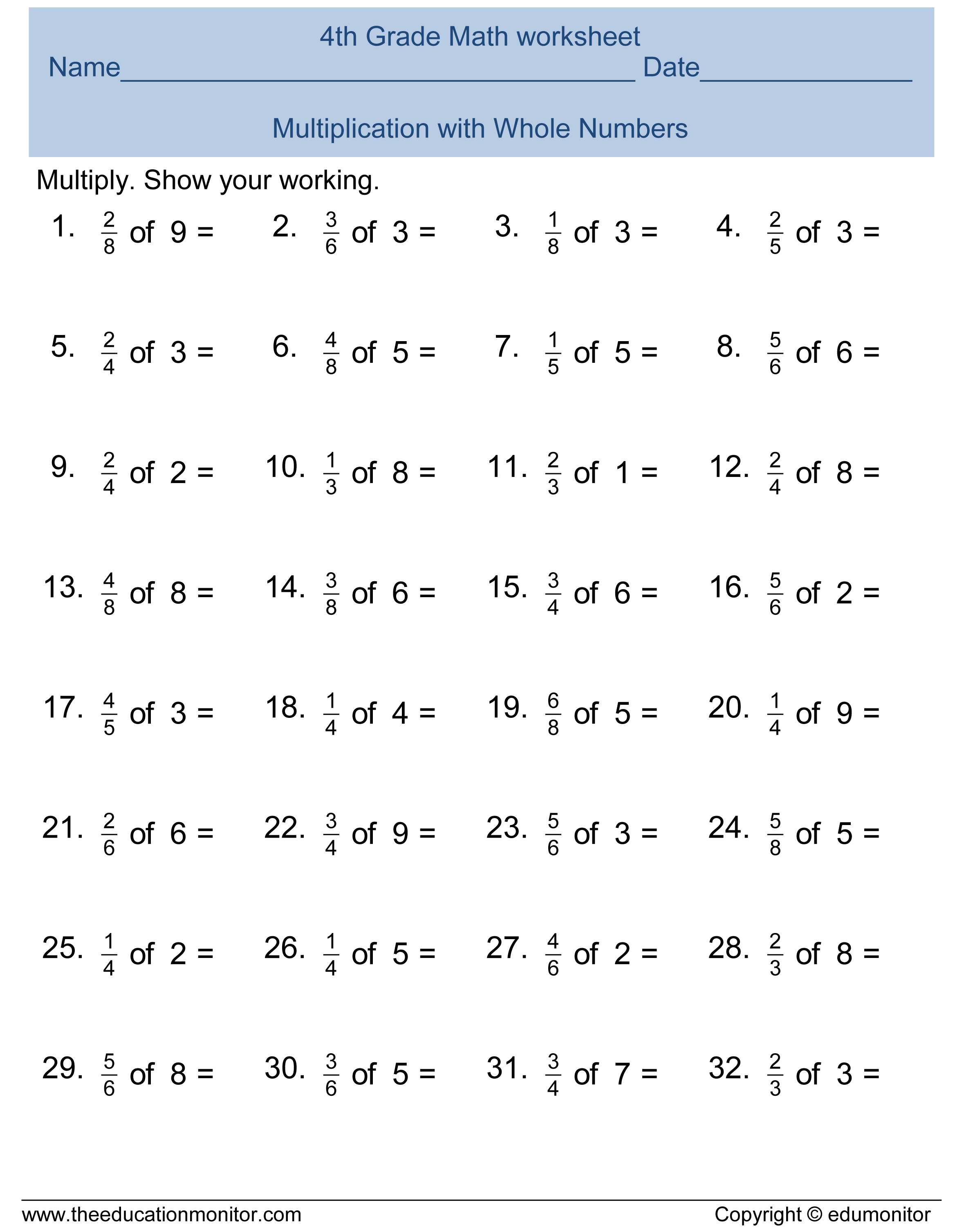 Free 4th Grade Fractions Math Worksheets And Printables Edumonitor
