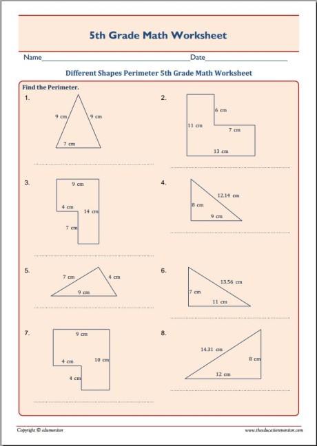 Different Shapes Perimeter 5th Grade Math Worksheet