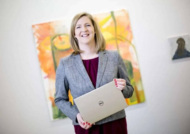 Business 13012016. No Repro Fee. Pictured is Niamh Townsend, General Manager, Dell Ireland at the Kevin Kavanagh Gallery in Dublin 8 where she shared her insights on anticipated technology trends for the year ahead. A new range of Latitude devices were also revealed at the launch. The laptops and 2-in-1s combine industry-leading security, manageability and reliability features demanded by business customers with the stunning design, InfinityEdge display and premium materials that employees crave. The new additions across the Latitude and UltraSharp display lines represent the most comprehensive commercial product redesign in Dell company history. Townsend spoke about Dell's focus on building solutions for the Future Ready Workforce and the changing ways people work. More information about Dell Ireland is available at www.dell.ie. Photo Chris Bellew / Fennell Photography 2016