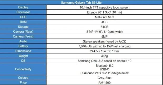 Samsung Galaxy Tab S6 Lite specs