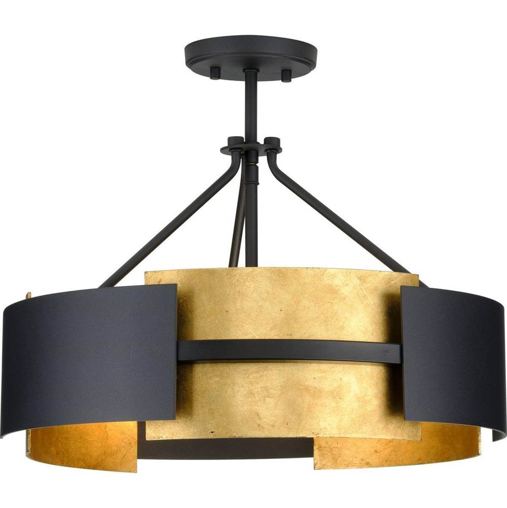 lowery collection 3 light black distressed gold luxe semi flush mou