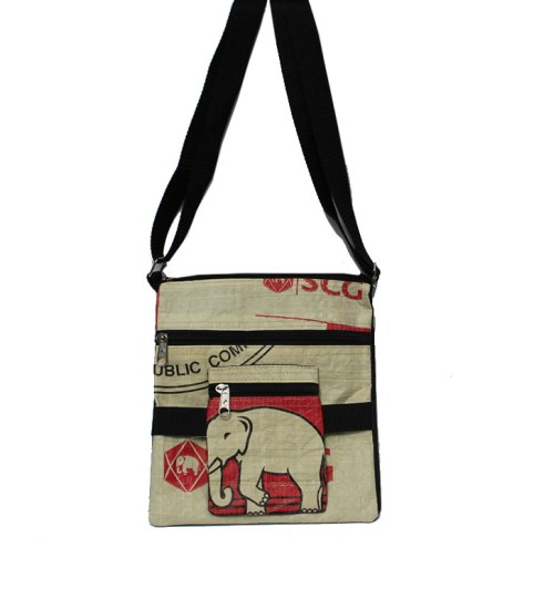 Elephant Brand Recycled Deluxe Flap Bag 4 zip 4