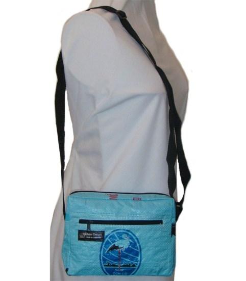 Recycled Shoulder Bag small Light Blue OK