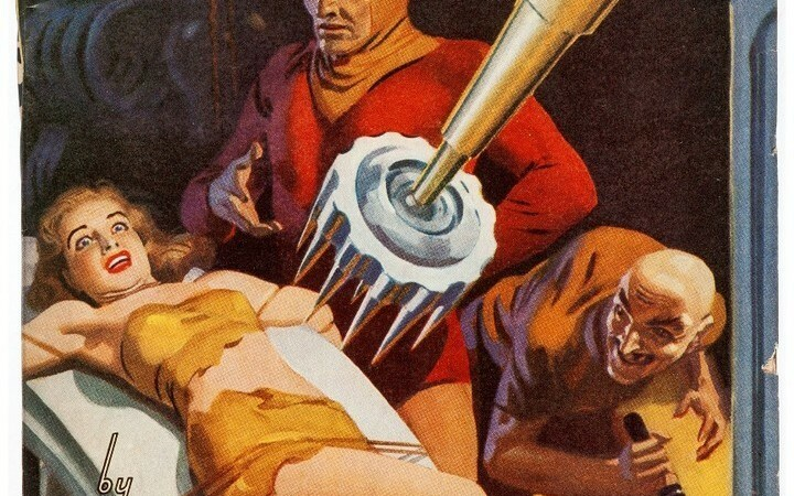 What is the villain wearing in this painting that graced the April 1941 cover of Spicy Adventure Stories? Is he torturing the girl because he wants access to her wardrobe? Also, why do so many villains have henchman who are hunchbacks?