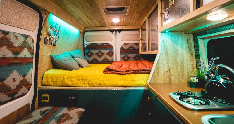 This traveling duo put some super cool personal touches on this comfy, quirky camper van build.