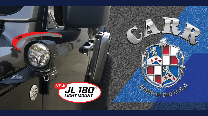 The innovative JL 180° Light Mount from Carr will change the way you off-road.