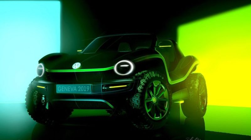 VW plans to debut a 100% electric dune jumper at the 2019 Geneva Motor Show. It will be an updated throwback to the vintage, stripped-down beach buggies of the 1960s.