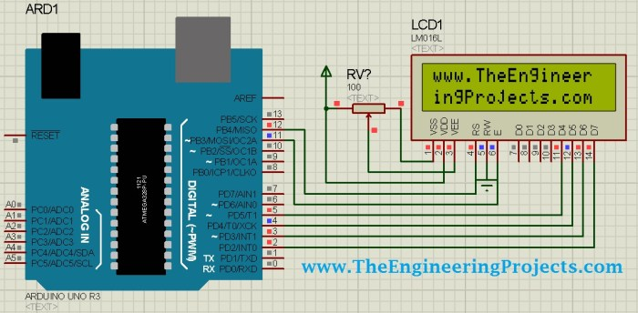 Circuit Designing of LCD with Arduino in Proteus ISIS