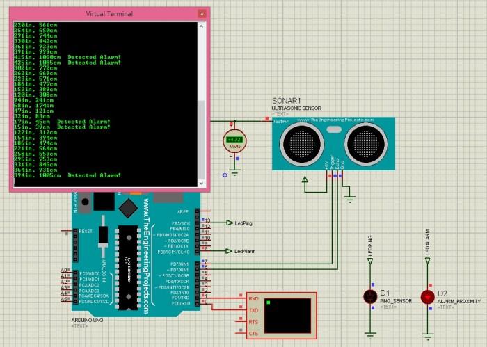 Ultrasonic Sensor in Proteus,Ultrasonic Sensor Library for Proteus,ultrasonic proteus simulation,ultrasonic sensor code