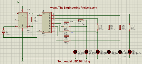 LED blinking projects, Sequence blinking of LEDs, Sequence blinking of LED using 555timer, Sequential blinking of LEDs using 555timer in proteus ISIS, LED projects in proteus isis