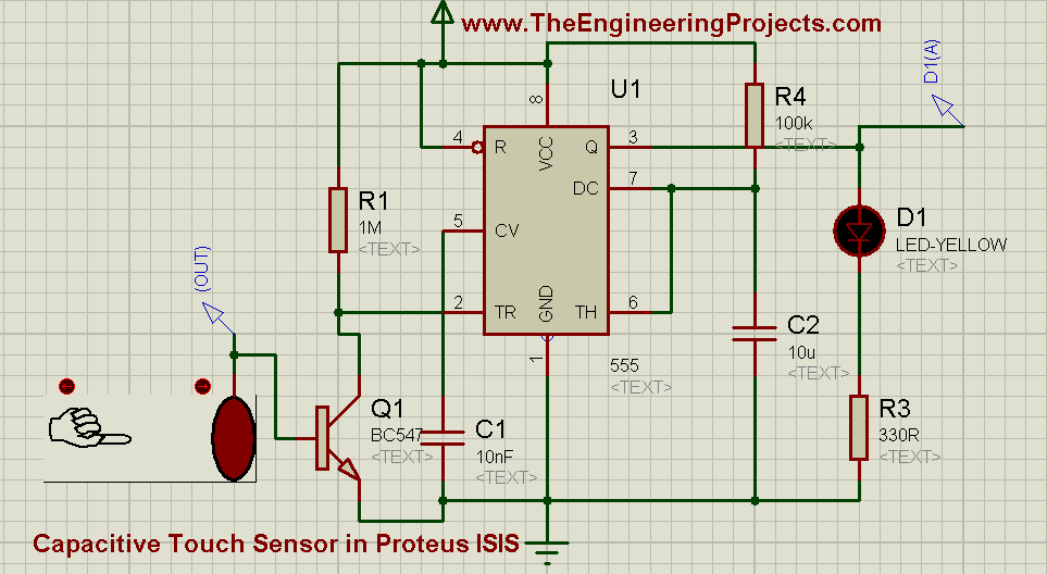 use of capacitive touch sensor in proteus isis, capacitive touch sensor, how to built touch sensor, how to design a capacitive touch sensor in proteus