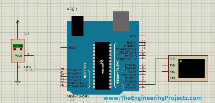 lm35 with arduino,lm35 proteus,lm35 coding,lm35 in proteus, arduino lm35