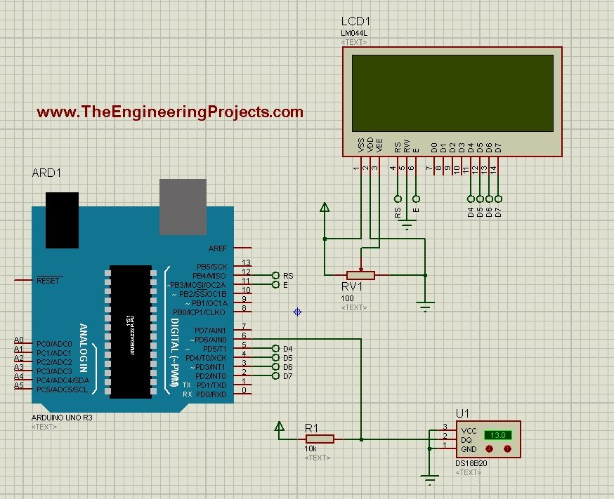 18B20 in proteus, 18b20 arduino code, 18B20 code in proteus, 18b20 simulation,interfacing of temperature sensor with arduino