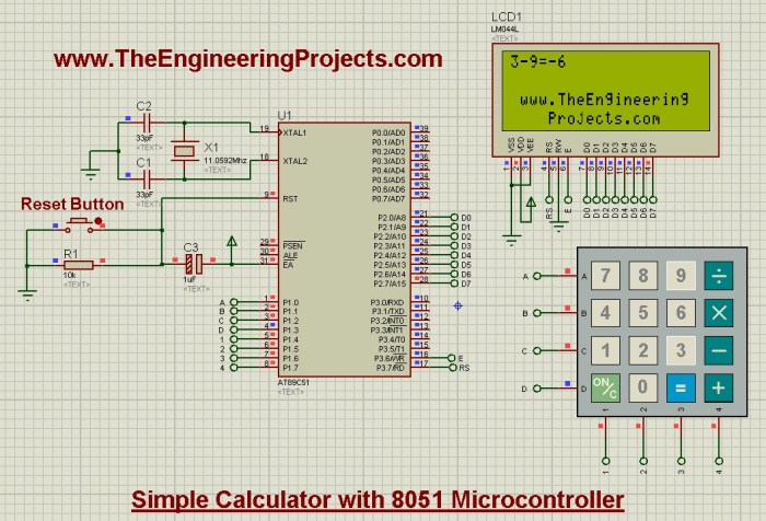 design calculator with 8051 microcontroller,calculator with 8051, calculator design 8051,8051 calculator
