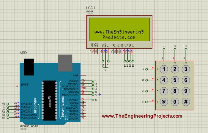 keypad arduino code, keypad working with arduino, how keypad works,interface keypad with arduino, display keypad on LCD