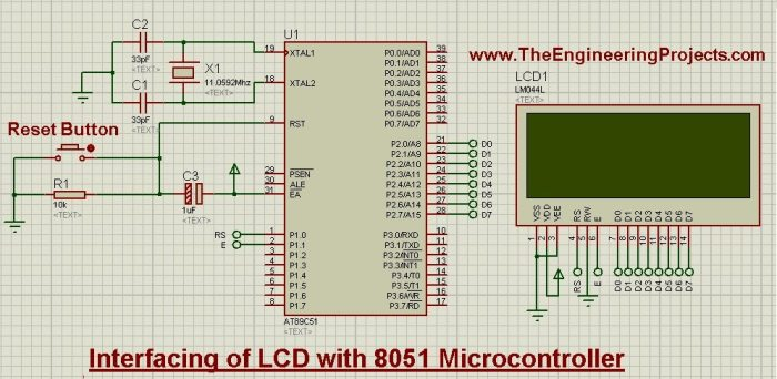 Interfacing of LCD with 8051 Microcontroller in Proteus ISIS