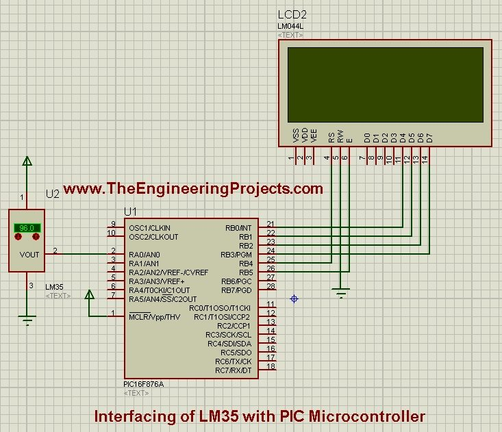 Interfacing of LM35 with PIC Microcontroller, lm35 with pic, lm35 temperature snesor with pic, lm35 with pic microcontroller, pic microcontroller with lm35