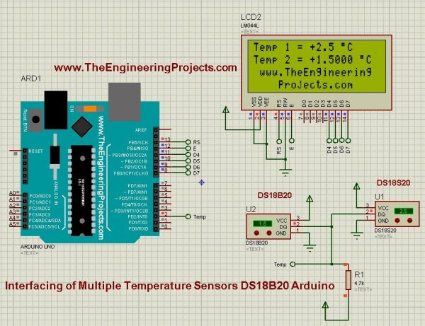 Interfacing of Multiple DS18B20 Arduino,ds18b20 arduino, arduino ds18b20, multiple ds18b20 arduino, arduino with ds18b20