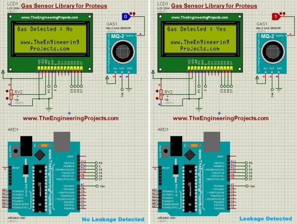 LPG Gas Leak Detector using Arduino in Proteus ISIS, gas leak detector, gas leak detect, gas leakage detector