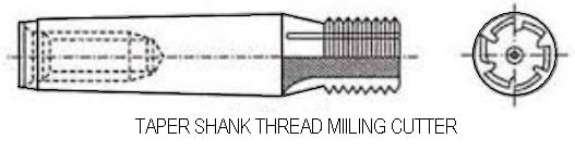 Taper shank thread milling cutter