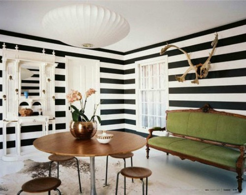 Black And White Stripes All Over The English Room