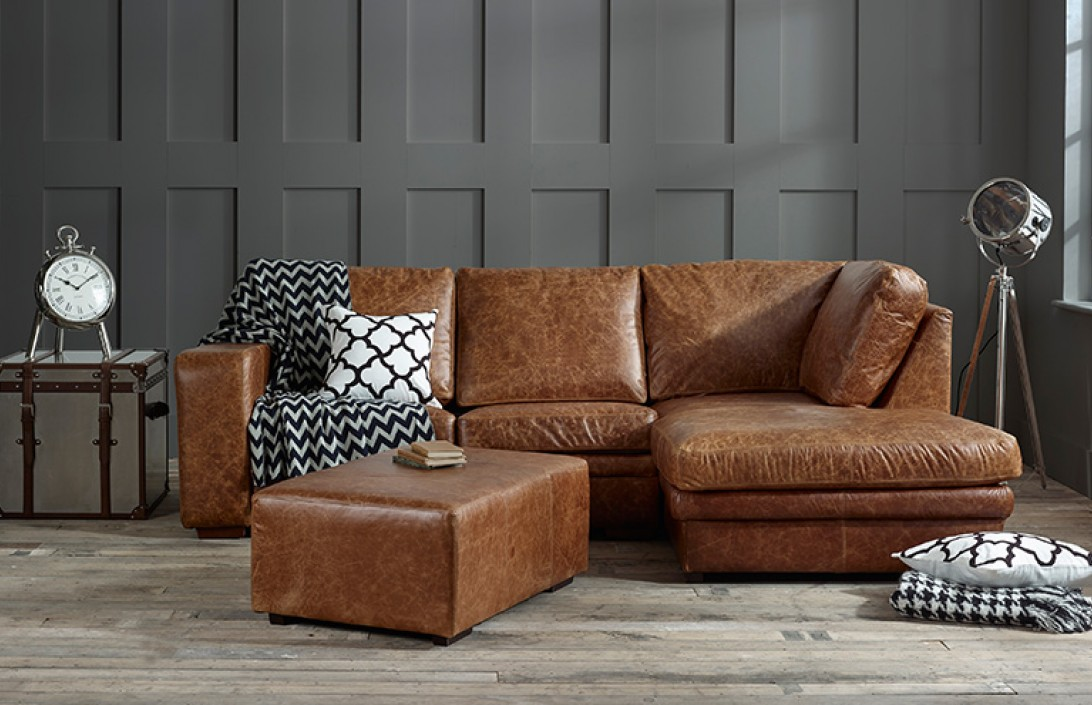 Abbey Leather Chaise English Sofa Co