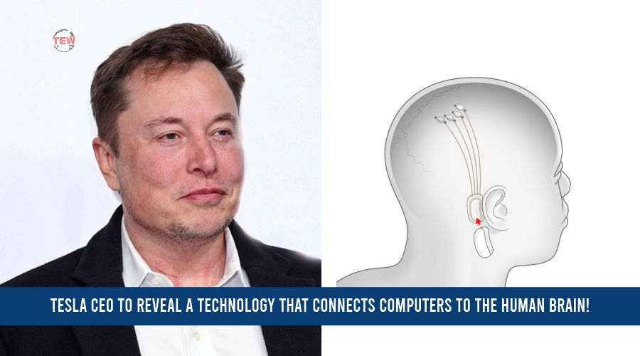 In image Tesla ceo Elon Musk and his brain chip Neuralink technology
