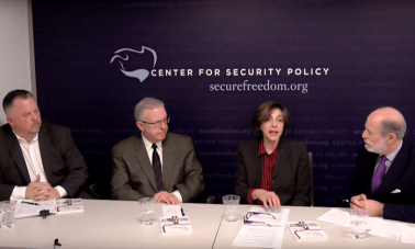(L-R) Rich Higgins, Chris Farrell, Diana West, and Frank Gaffney at the Center for Security Policy in Washington on March 8. (Screenshot/Center for Security Policy)
