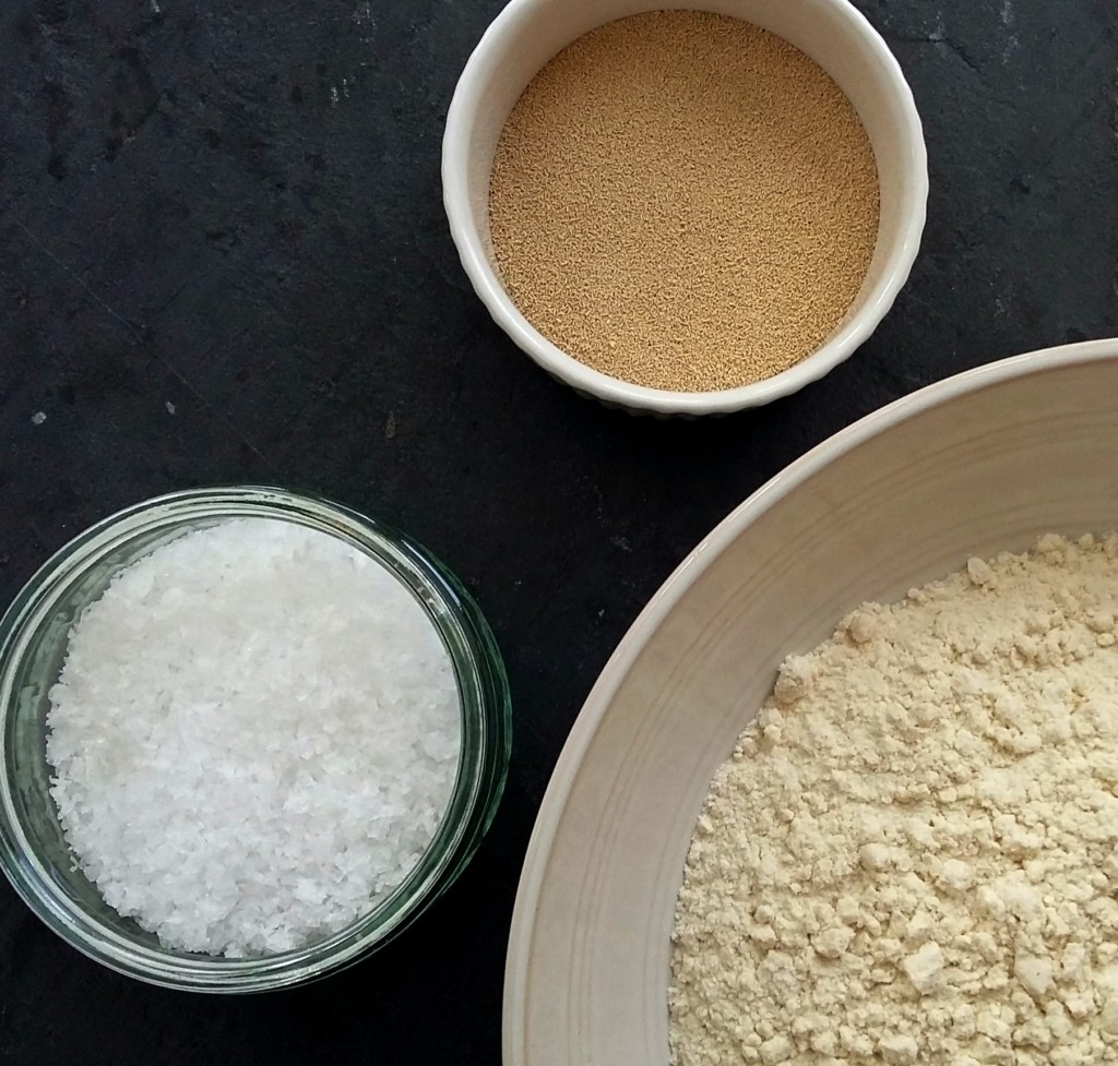Image result for Combine  flour, yeast and salt in a bowl.