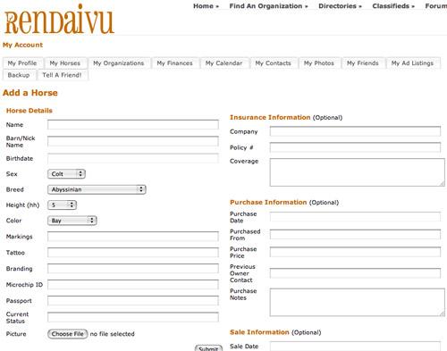 Rendaivu Horse Management Software