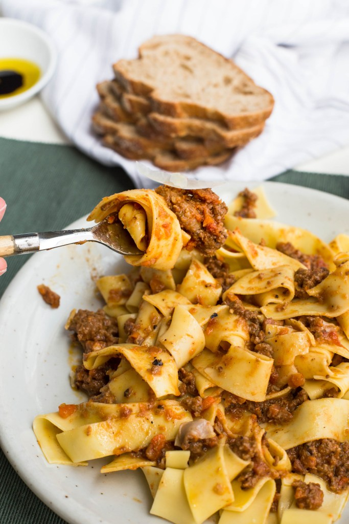 Authentic Italian Bolognese Sauce on pappardelle noodles