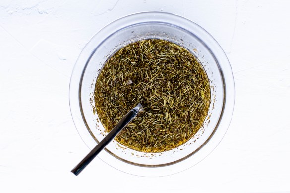 Dried herbs combined with olive oil, vinegar, shallots and garlic for s simple marinade
