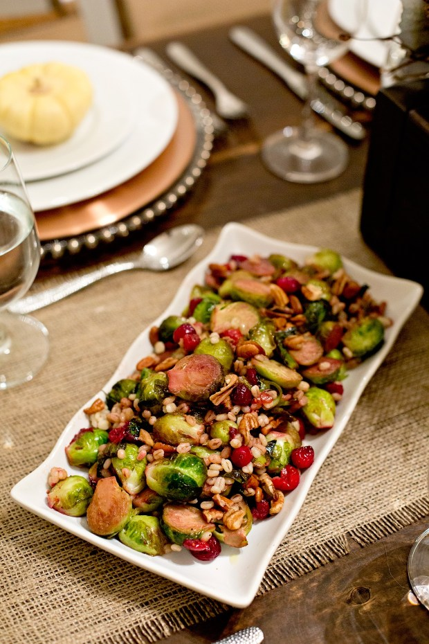 Thankgiving Cranberry and Walnut Maple Brussel Sprouts