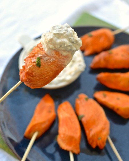 Buffalo Chicken on a Stick with Blue Cheese Dip at www.mybottomlessboyfriend.com