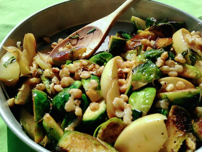 Warm Apple & Brussels Sprouts Salad with Candied Walnuts. Get the recipe at www.mybottomlessboyfriend.com