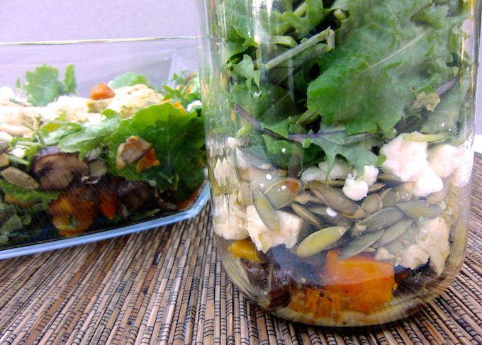 Fall Kale Salad with Pesto Chicken. Recipe at www.mybottomlessboyfriend.com