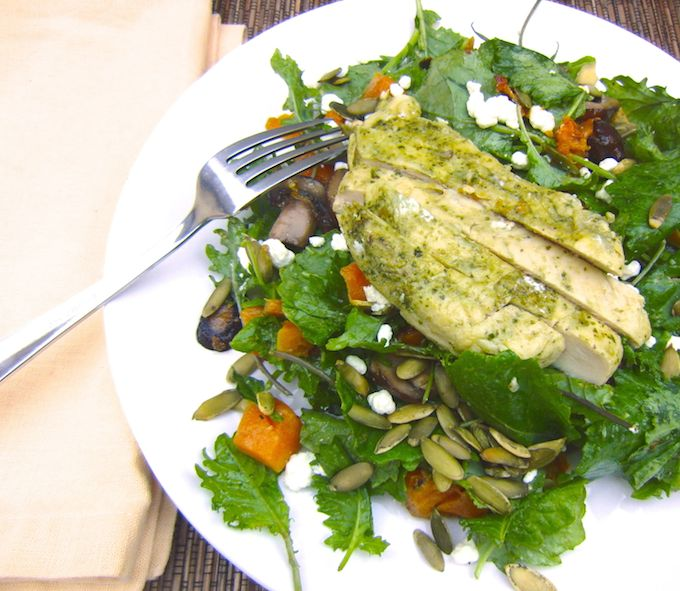 Fall Kale Salad with Pesto Chicken. Recipe at www.mybottomlessboyfriend.com