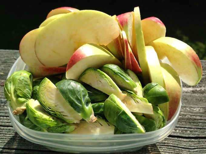 Gonna make Warm Apple & Brussels Sprouts Salad with Candied Walnuts. Get the recipe at www.mybottomlessboyfriend.com