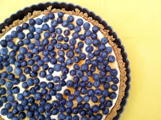 Blueberry Tart with Walnut Crust. Recipe at www.mybottomlessboyfriend.com
