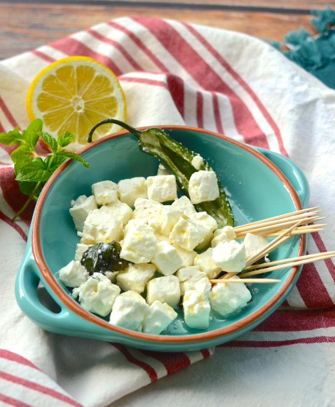 Jalapeno-Lemon Feta - a 5-minute marinade to kick your cheese up a notch. Get the recipe at www.mybottomlessboyfriend.com