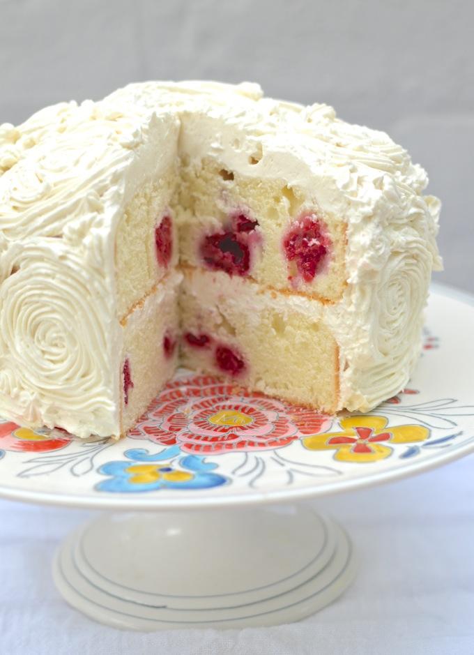 A Raspberry Greek Yogurt Cake with Lemon Buttercream to celebrate a very Happy 1st Birthday to www.mybottomlessboyfriend.com