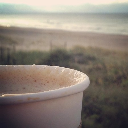 Mmm... a morning latte on the beach! www.mybottomlessboyfriend.com