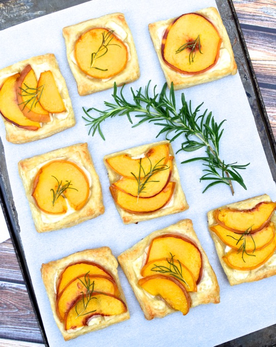 Peach, Rosemary, & Brie Tartlets - a little sweet + savory. Get the recipe at www.mybottomlessboyfriend.com