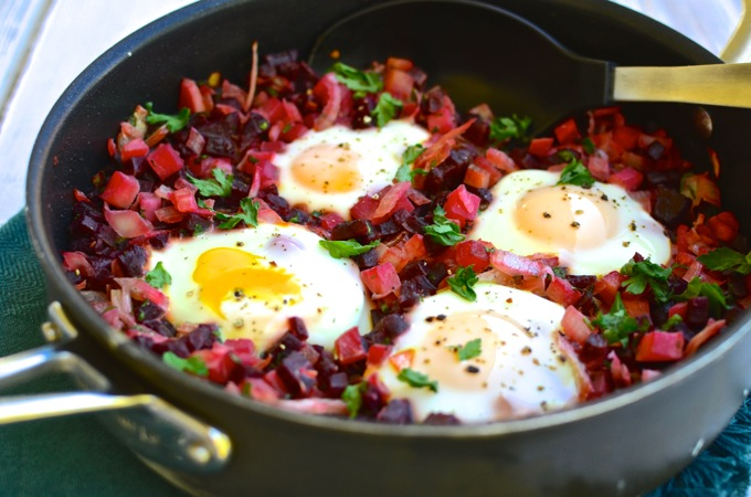Beet & Turnip Hash with Runny Eggs - ready in less than 30 minutes! Recipe at www.mybottomlessboyfriend.com